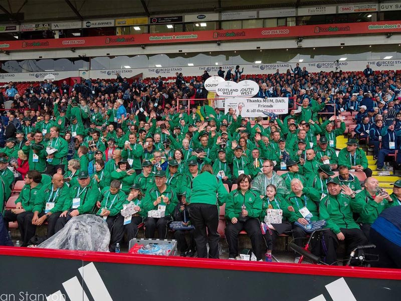 Our green kit stands out in the stadium